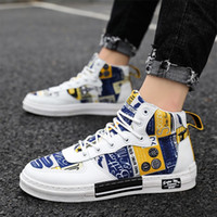 Wholesale dress shoes soft soles resale online - Canvas Shoes Mens Autum Winter Leisure High Top Breathable Graffiti Board Shoes for Male Students Daily Dress Rubber Soft Sole