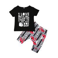 bebé traje fresco al por mayor-Cool Summer Kids Baby Boy Ropa Conjuntos Letra Manga Corta O-cuello Camisetas + Pantalones Cortos Impresos Algodón 2 Unids Trajes de Baby Boy 1-4Y