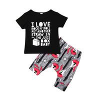 equipamento legal do bebé venda por atacado-Cool Summer Kids Baby Boy Roupas Conjuntos Carta de Manga Curta O Pescoço T-shirt + Shorts de Algodão Impresso 2 Pcs Baby Boy Outfits 1-4Y