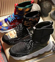 Wholesale big round christmas lights resale online - 2019 Mens High Top Black Chain Reaction Casual Shoes Boots Medusa Chain linked Sneakers Trainer Luxury Sneaker Big Size A11