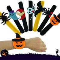 handklatschenspielzeug großhandel-Halloween Pops Ringe Slap Clap Armband Party Dekoration Für Kürbis Ghost Bat Spinne Plüsch Hand Kreis Spielzeug Bandgle Für Kinder Erwachsene HH9-2310