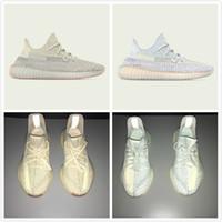 bulut aydınlatması toptan satış-Yeni V2 Koşu Ayakkabıları Bulut Beyaz Citrin Işıklı Moda Spor Ayakkabı Erkekler Kadınlar için Kanye West Tasarımcı Sneakers Rahat Trainiers