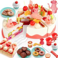 Wholesale cutting fruit toys kids for sale - Group buy 61Pcs Large DIY Pretend Play Fruit Cutting Birthday Cake Kitchen Food Toys with Light Music for Kids Boys Girls