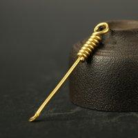 tragbares schaufelwerkzeug großhandel-Messing Schaufel Löffel Earpick tragbare Ohrenschmalz Entferner Health Care Tools Schlüsselbund Anhänger Dekor 6,8 cm FFA2707-1