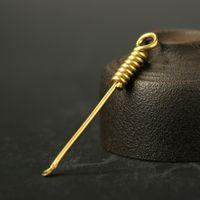 herramienta de pala portátil al por mayor-Pala de latón cuchara cuchara earpick portátil removedor de cera del oído herramientas de cuidado de la salud llavero colgante decoración 6.8 cm ffa2707-1