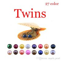 Wholesale circles earrings diy resale online - 2019 Red shell Akoya mm Colors Seawater Round Twins Pearl Oyster For DIY Making Necklace Bracele Earrings Ring Jewelry Gift