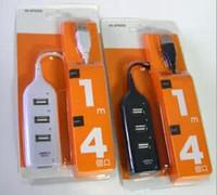bilgisayar kabloları usb toptan satış-Yüksek Hızlı Mini 4 Port USB 2.0 HUB 60 cm şarj kablosu Adaptörü 1 M USB Portu Dizüstü PC Bilgisayar Çevre Birimleri Aksesuarları Iphone için 5 6 7