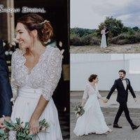 Wholesale empire waist wedding dresses plus resale online - Bohemia Wedding Dresses with Sleeves Sheer V Neck Empire Waist Chiffon Backless Cheap Plus Size Boho Country Bridal Wedding Gowns