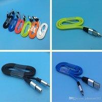 cordon de nouilles pour micro achat en gros de-Câble micro USB de nouilles plates en métal 2.4A Data Sync Cordes de charge rapide pour câble de charge rapide pour téléphone mobile de type C de Samsung