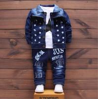 blaue koreanische jacke groihandel-Kinderkleidung Set 2020 Stattliche Jungen Herbst Korean Abfluss Zurück Denim Bluse + Jeans + Jacke Drei Stücke Cowboy Blau