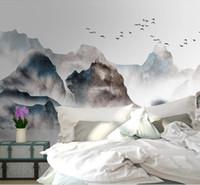 китайская картина пейзажа оптовых-красивые пейзажи обои новый китайский стиль китайский стиль ручной росписью пейзаж телевизор диван фон стены