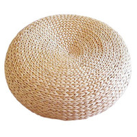 Wholesale woven seat cushion resale online - Tatami Cushion Round Straw Weave Handmade Pillow Floor Yoga Chair Seat Mat Thicken Window Chair Cushion Pad Home Decor