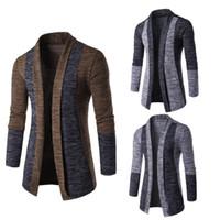 farbe jacquard-pullover großhandel-Mens Plus Size Winter Langarm Slim Open Front Pullover Farbblock Patchwork Jacquard Lässige Büro Strickwaren Jacke