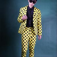 ingrosso capelli gialli coreano-Giallo nero onda punto Nuovo 2 pezzi vestito Set sottile uomini coreano parrucchiere night club maschile casual Blazer costume di scena