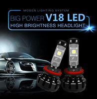 kit de bombilla h1 al por mayor-V18 Kit de luces para coche H4 LED H13 9007 H7 H11 9005 9006 H1 H3 XHP70 6000K Faro antiniebla Lámparas Lámparas Canbus