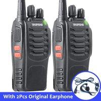 transceptor 3km al por mayor-2 unids Baofeng bf-888s portátil Walkie Talkie 16CH bf 888s Radio bidireccional UHF 400-470 MHz 2 pzas de caza transceptor con auricular