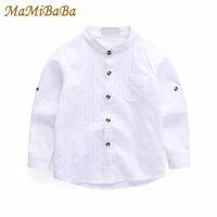 camisa do colar do mandarino dos meninos do bebê venda por atacado-Crianças do bebé Shirts 2018 Nova Primavera Collar Sólidos camisa de algodão branca mangas compridas Mandarim Para 3-10 anos Crianças Roupa Bs045