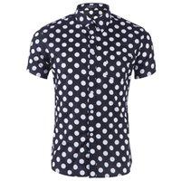weiße tupfenhemd männer großhandel-2019 Men Shirt lässig einteiliges Kleid Polka Dot Slim Kurzarm-Hemd Herren Schwarz und Weiß gedruckt Casual