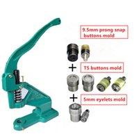 ferramentas do botão de pressão venda por atacado-1pc botões Rebites Instalar Máquina + 1set 5 milímetros ilhós ferramenta de molde + 1set 9,5 milímetros Prong Snap botões Mold + 1set snap Morre Botão Mold