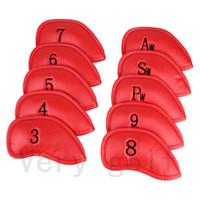 conjunto de cabeça de ferro venda por atacado-10 Pçs / set Espessura de Couro Sintético Pu Crânio Golf Iron Club Headcover