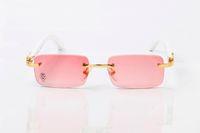quadros de óculos brancos venda por atacado-Óculos sem aro de madeira retangulares vidros ópticos Espelhos-de-rosa Gafas Lunette Limpar Lens Quadro Branco Eyeware Com Caixa
