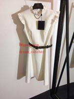 venta de ropa de dama al por mayor-2019 venta caliente Vestidos de verano Cinturón con volantes blanco vestido sin mangas de las señoras vestidos casuales de alta calidad ropa de mujer PM-9