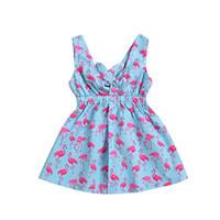 robes bleues à col en v achat en gros de-Bébé Flamingo Girls Dress Imprimé Sans Manches Serrer Toddler Infant Ruffle V-Neck Cravate Nouveau-Né Bleu Été 1-4T