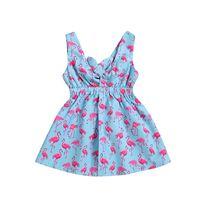 шейные галстуки оптовых-Baby Flamingo Girls Dress Печатный Без Рукавов Герметичность Малышей Рюшами V-образным Вырезом Новорожденный Галстук Синий Лето 1-4 Т