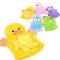 Wholesale child bath glove resale online - Cartoon Animals Kids Bath Mitten Buddy Duck Frog Rabbit Fun Children Washing Bath Gloves Baby Bath Rub Towel LX7035