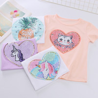 Wholesale baby white tshirt for sale - Group buy Kids Girl T shirts Summer Baby Girls Cotton Unicorn Tshirt Sequined Short Sleeve Tops Toddler Tees Children Clothing Y