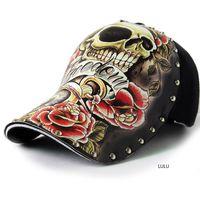 dövmeler yeni kafatasları toptan satış-Şapkası illüstrasyon kafatası dövme deseni perçin bahar ve yaz moda yeni kişilik özgün tasarımcı şapka snapback şapka