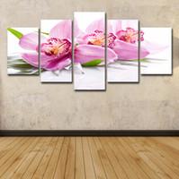 ingrosso foto di orchidee libere-Tela di canapa stampata HD della tela di canapa della pittura della stanza della stampa della tela di canapa della pittura del gruppo della pittura della tela di canapa dei fiori di 5 pezzi Trasporto libero