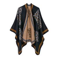 abrigos de estilo del cabo al por mayor-18 Estilos Mujeres Invierno Cálido Poncho Suave Chales y Abrigos de Manga Gruesa Para Damas Estampado de Leopardo Elegantes Capas Carigan Suéter Abrigos