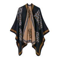 ingrosso cappotti in stile capo-18 Styles Donna Inverno caldo morbido Poncho maniche scialli e involucri per le signore Stampa leopardata Cappe eleganti Cappotti maglione Carigan