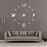 ingrosso disegni di caffè della parete della cucina-Orologio da parete grande di DIY Cafe Orologio da parete gigante Frameless Orologio Design moderno Cafe Coffee Mug Coffee Bean Decor Kitchen