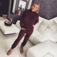 terninhos feito malha de lãs venda por atacado-Mulheres suéter terno e conjuntos casuais camisolas de malha calças 2PCS trajes de pista de lã de malha calças + Jumper Tops Set