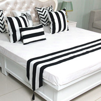 Wholesale white wedding bedspreads for sale - Group buy Black and white stripes Bedspread Modern Simple style Bed Runner Bedding Scarf Wedding Home Hotel Bedroom Decorative Bed Cover