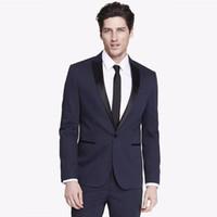 лучшие женихи для жениха оптовых-Navy Blue Slim Fit Wedding Men Suits Business Wear Groom Tuxedos 2 Pieces (Jacket+Pants) Best Man Bridegroom Suits Blazer
