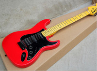 Wholesale black guitar customize resale online - 2019 New Red body Electric Guitar with Black Pickguard Black Pickups Yellow Maple Neck Black Hardwares offering customized services