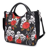 vestido estampado venda por atacado-Novo Design de Halloween Rose Flor Bolsa Moda Lady Bag Crânio imprimir Saco Do Mensageiro Da Lona + esqueleto Rose Flor Vestido Set Férias Agradável Desgaste