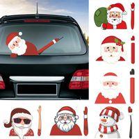 limpador de etiquetas venda por atacado-Pára-brisas Decoração de Natal Papai Noel 3D PVC ondulação de adesivos de carro Styling Janela Wiper decalques traseiro Decor auto-adesivo