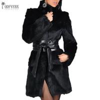 parka para mujeres de talla grande al por mayor-2019 otoño mujer abrigo de piel de visón abrigos de piel de zorro medio largo invierno imitación casual chaquetas de moda Parka Plus tamaño 5XL
