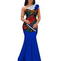 vestido de estilo sirena casual al por mayor-2019 Apliques de impresión africana hilo largo vestidos para mujeres Bazin Riche sirena vestidos drapeados estilo africano ropa personalizada WY3377