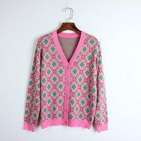 ingrosso pulsanti di scintilla-Cardigan con stampa geometrica Runway Donna New Autumn Jacket maglione Bottoni Cappotto Knit Top Moda femminile Sparkle Outwear Dolce