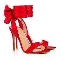 sandalia tacon t correa al por mayor-Venta al por mayor Summer Open Toe Ankle Straps famosas sandalias zapatos de mujer tacones altos Peep Toe Sandal Party tobillo Correa moda rojo T mostrar calzado