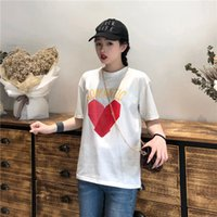 mode imprimé t shirts filles achat en gros de-Summer Fashion Girl Cartoon amour shirt imprimé de la femme Casual O-cou à manches courtes T-shirts d'étudiant T-shirt YL747 bateau libre