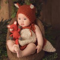 cola de zorro al por mayor-Accesorios de fotografía neonatal, Fox con una gran cola, baby moon, bebé con pantalones, traje de sombrero.