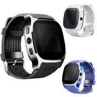 saat senkronize iphone toptan satış-Apple iPhone android için T8 Bluetooth Akıllı İzle Adımsayar SIM TF Kart Kamera Sync Ile Çağrı Mesaj Smartwatch pk DZ09 U8 Q18 fitbit