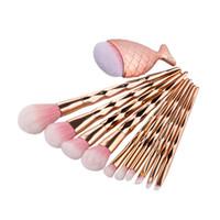 алмазный нос оптовых-11pcs / set Diamond Fish Makeup Brush Set розовое золото профессиональный Румяна порошок тени для век губы нос макияж кисти косметические инструменты HHA149