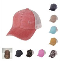 Wholesale breathable mesh ball cap for sale - Group buy Messy Bun Hats Ponytail Baseball Cap Washed Cotton Snapback Caps Breathable Mesh Adjustable Cap Women Sunhat colors BBA8